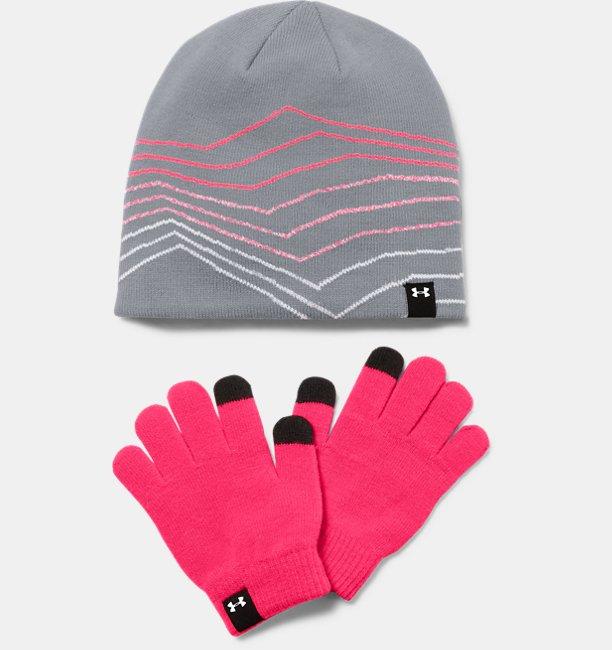 Girls UA Beanie & Glove Combo Set